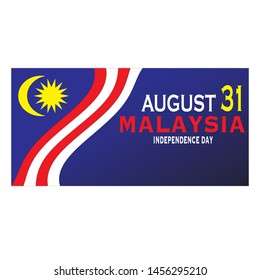 Malaysia Independence Day banner with stripes of Malaysia flag. Vector illustration.