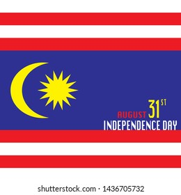 Malaysia Independence day concept. Vector illustration Malaysia Flag with text MALAYSIA INDEPENDENCE DAY.