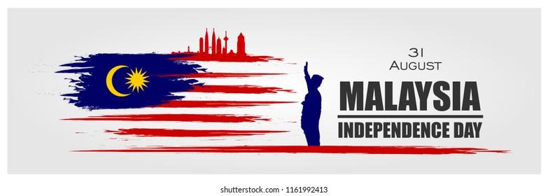 Malaysia INDEPENDENCE DAY and Malaysia flag translation (31 ogos selamat hari merdeka) Vector Ilustration