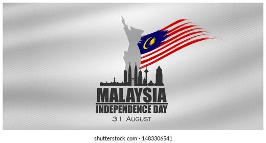 Malaysia INDEPENDENCE DAY and Malaysia flag translation (31 ogos selamat hari merdeka) vector illustration