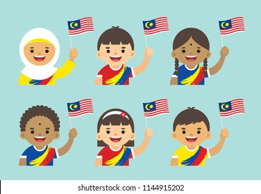 Malaysia Independence Day illustration. Cute cartoon kids of Malay, Indian & Chinese holding Malaysia flag in flat vector design.