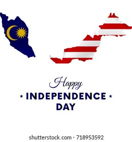 Malaysia Independence day. Malaysia map. Vector illustration.