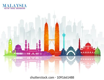 Malaysia Landmark Global Travel And Journey paper background. Vector Design Template.used for your advertisement, book, banner, template, travel business or presentation.