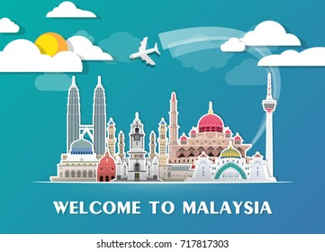 Malaysia Landmark Global Travel And Journey paper background. Vector Design Template.used for your advertisement, book, banner, template, travel business or presentation