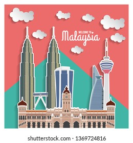 Malaysia Landmark With Living Coral Background Color