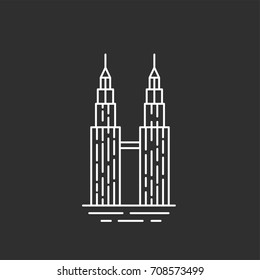 Malaysia landmark. Twin towers in outline style. Black and white illustration.