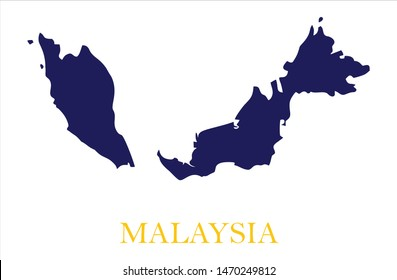 Malaysia Map in flat vector style with Flag Colors, Blue Land, Yellow Word and White Background