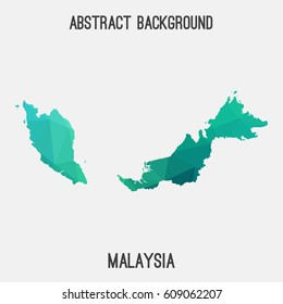 Malaysia map in geometric polygonal,mosaic style.Abstract tessellation,modern design background,low poly. Vector illustration.
