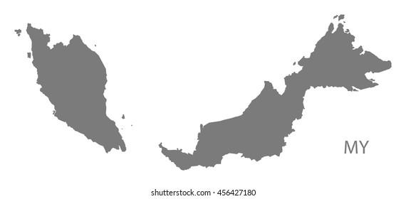 Malaysia Map grey