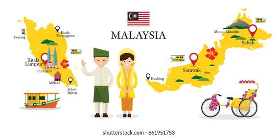 Malaysia Map and Landmarks with People in Traditional Clothing, Culture, Travel and Tourist Attraction