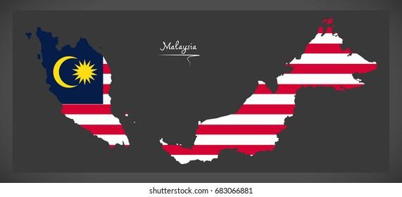 Malaysia map with Malaysian national flag illustration