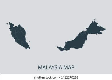 Malaysia map on gray background vector, Malaysia Map Outline Shape Gray on White Vector Illustration, Map with name. High detailed Gray illustration map Malaysia. Symbol for your web site design logo.