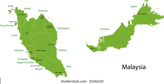 Malaysia map with provinces and capital cities