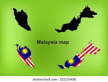 Malaysia map vector, Malaysia flag vector