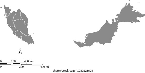 Malaysia map vector outline with scales of miles and kilometers and borders of provinces in gray background. Malaysia map with mileage and kilometer scales