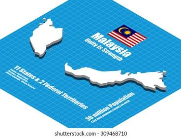 Malaysia map vector three dimensional