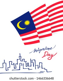 Malaysia Merdeka Vector poster. National traditional holiday symbol. Malaysian Jalur Gemiland flag during 31th of August -  greeting card for independence day