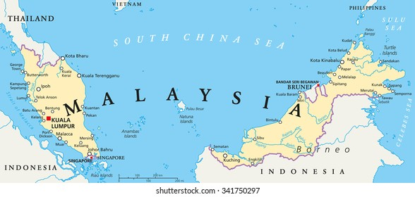 Malaysia political map with capital Kuala Lumpur, national borders, important cities and rivers. English labeling and scaling. Illustration.