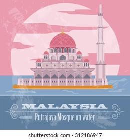 Malaysia. Retro styled image. Vector illustration