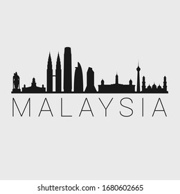 Malaysia Skyline Silhouette City. Design Vector. Famous Monuments Tourism Travel. Buildings Tour Landmark.