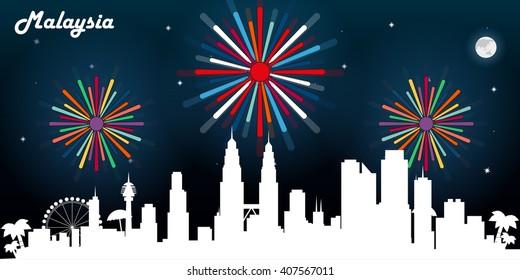Malaysia skyline silhouette, dark night sky with fireworks vector design