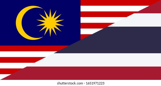malaysia and thailand flags. vector background