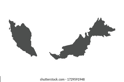 Malaysia vector map silhouette isolated on white background.