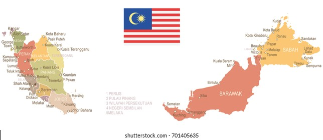 Malaysia vintage map and flag - vector illustration