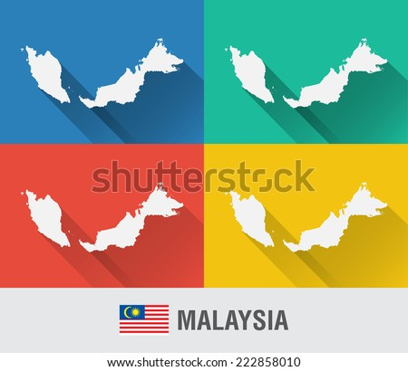 Malaysia World Map Flat Style 4 Stock Vector (Royalty Free ...