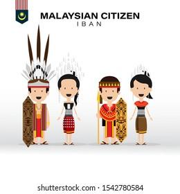 Malaysian Citizen Iban Clothing Vector Art