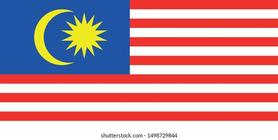 malaysian country flag red, yellow and blue