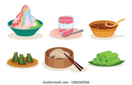 Malaysian Cuisine Dishes and Meals Vector Set