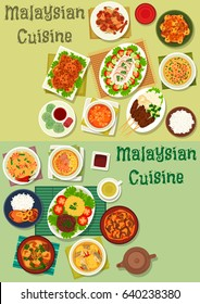 Malaysian cuisine healthy food icon set of chicken and beef with rice and vegetable, grilled meat, chicken curry, noodle soup with shrimp and pork, fish and lamb stew, fried rice, coconut dessert