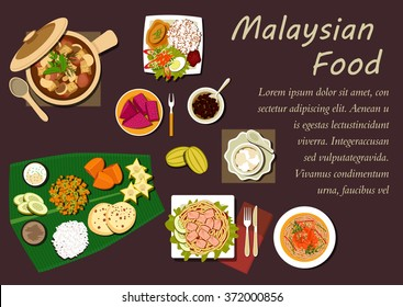 Malaysian cuisine with nasi lemak rice, prawn noodle, tofu noodle with curry, pork stew with mushrooms and tofu, passion fruit, carambola, mango, pineapple fruits with bread and dessert on banana leaf