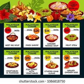 Malaysian cuisine restaurant menu price cards with lunch discount offer. Vector design for Malay traditional beef rib soup, fried chicken and noodle or meat and vegetables stew or stuffed crab