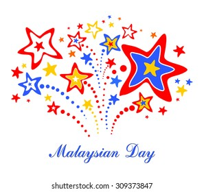 Malaysian Day. 31 August. Malaysia Independence Day. Celebration background with fireworks and place for your text. Vector Illustration