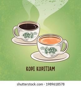 Malaysian Local Cuisine Drink Beverage Kopi Kopitiam Mamak Asian Culture Heritage Doodle Illustration Sketch
