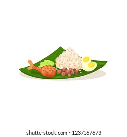 Malaysian nasi lemak on green leaf. Rice with boiled egg, chicken leg sliced cucumber and peanuts. Flat vector design