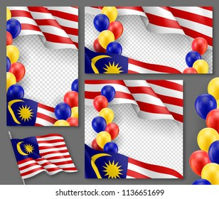 Malaysian patriotic festive banners with transparent copy space. Realistic waving malaysian flag and colorful helium balloons. Independence and freedom vector layout. Malaysia country national