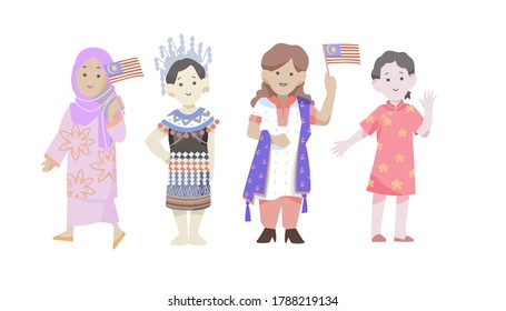 Malaysian people of various ethnicities waving flag and celebrating the Independence day of Malaysia