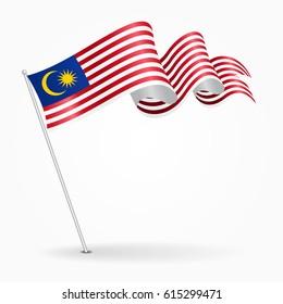 Malaysian pin icon wavy flag. Vector illustration.