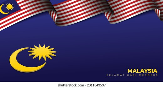 Malaysian Waving Flag vector illustration with 3d Crescent moon and star design. Malaysian Text mean is Happy Independence Day. Good template for Malaysia National Day design.