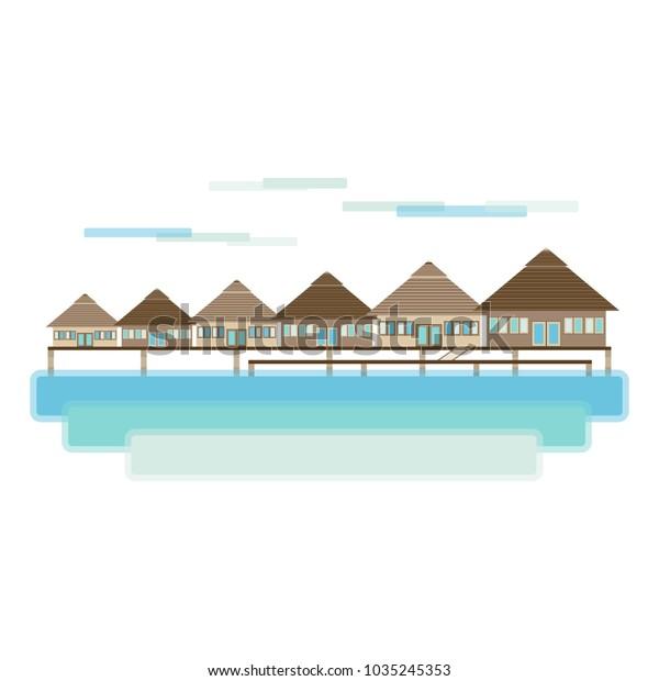 Maldives Bora Bora Island Travel Landscape Stock Vector