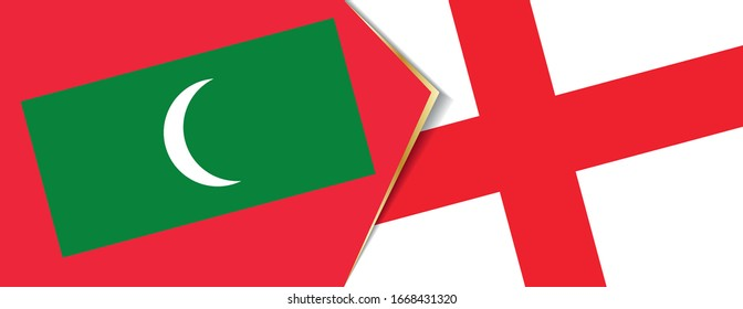 Maldives and England flags, two vector flags symbol of relationship or confrontation.