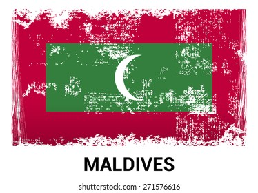 Maldives grunge flag isolated vector in official colors and Proportion Correctly. country's name label in bottom
