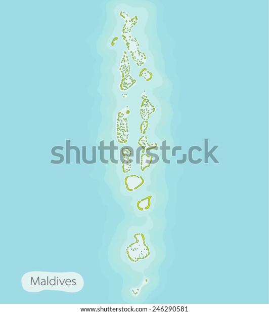 maldives map on blue background