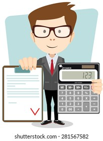 Male Accountant with a calculator, vector illustration