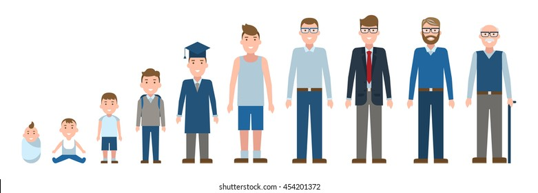 Male age set. Different stages of life. Male growth from baby to adult grandfather. Isolated cartoon characters.