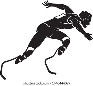 Male Amputee Athlete, Side View Silhouette