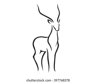 Male Antelope Silhouette